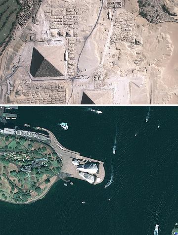 GeoEye-1 Giza pyramids Sydney