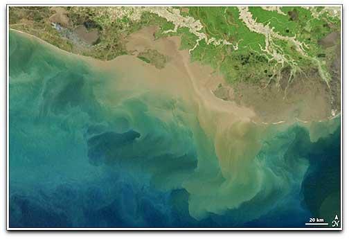 Aqua sediment in Gulf of Mexico NASA