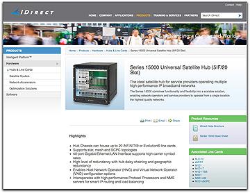 iDirect 15000 Sat Hub webpage