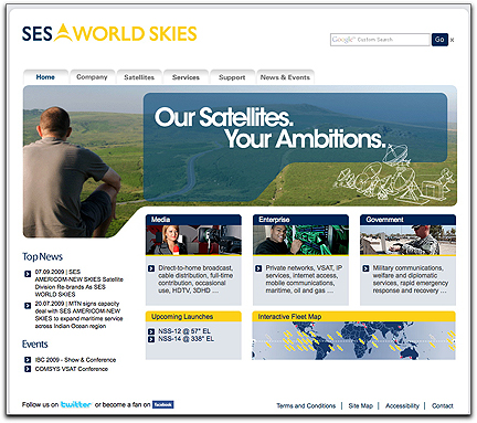 SES World Skies homepage