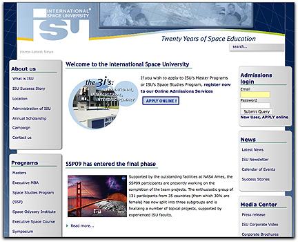 ISU homepage (090409)