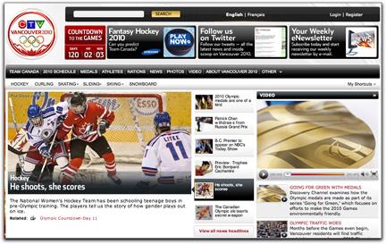 CTV Olympics homepage