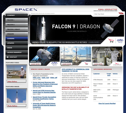 SpaceX homepage (0709)