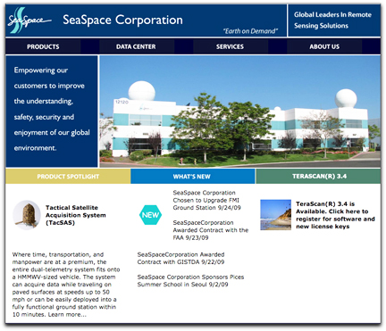 SeaSpace homepage