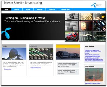 Telenor Satellite Broadcasting homepage