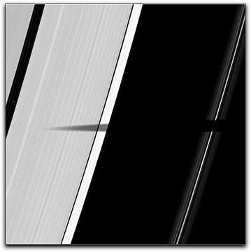 Mimas shadown on Saturn's rings