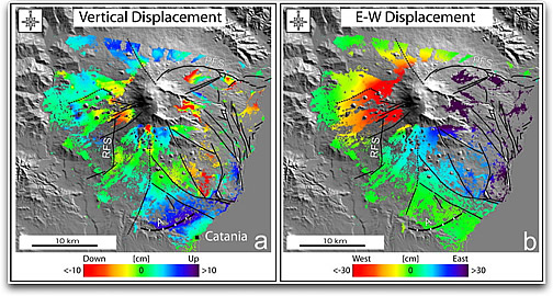 Mt. Etna displacement maps