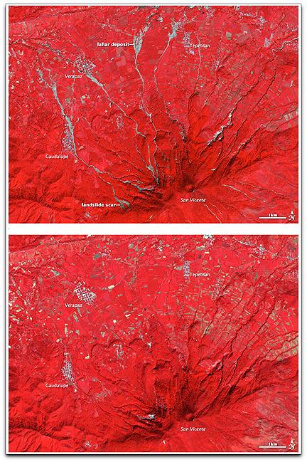 Volcan San Vicente landslides (NASA Terra)