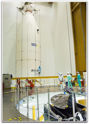 Ariane 5 with NSS-12 and THOR 6 satellites installed.
