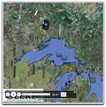 Screen of Great Lakes from Google Earth tour (NOAA