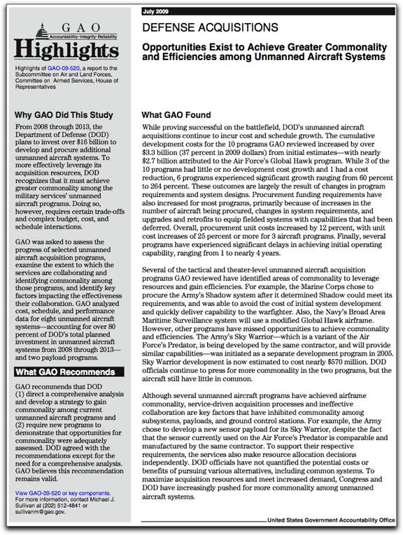 GAO UAV commonality report