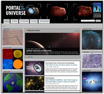 Portal to the Universe homepage