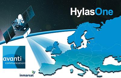 HylasOne satellite + Avanti + Inmarsat logos