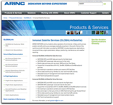 ARINC Inmarsat SatSvcs page