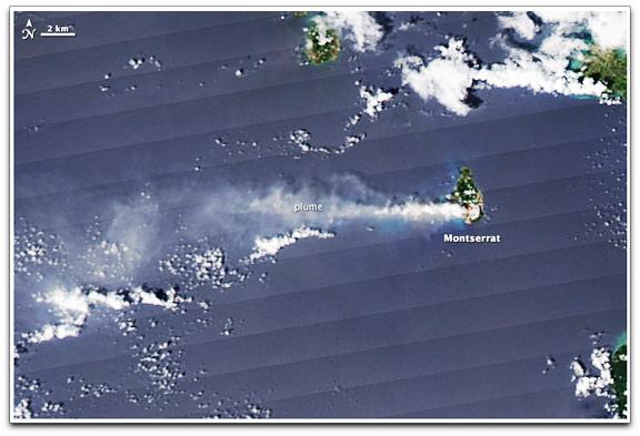Montserrat volcano NASA Aqua