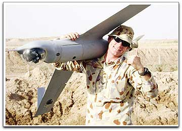 ScanEagle UAV recovery by Australian soldier