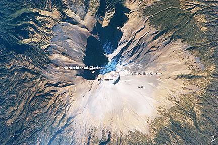 Popocatepetl volcano, Mexico (NASA)
