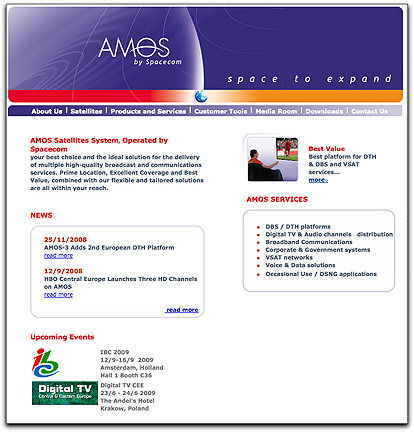 AMOS by Spacecom homepage