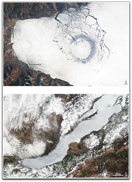 Lake circles Russia NASA MODIS ISS