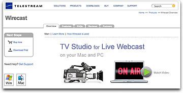 Telestream Wirecast webpage