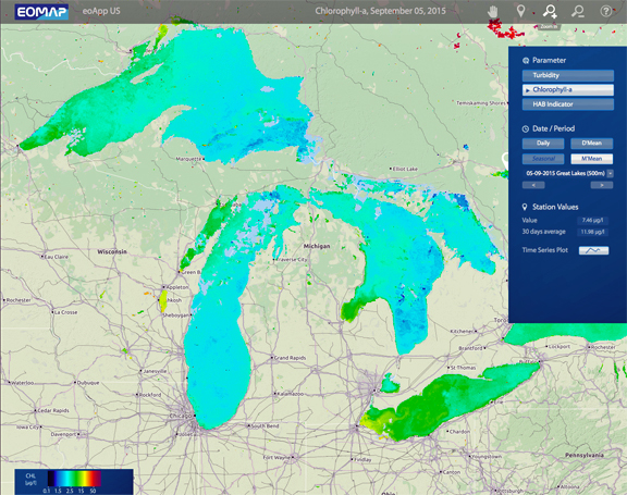 Satnews publishers daily satellite news algae bloom monitoring program developed by eomap for the great lakes region the solution provides an easy online access through eoapp useomap gumiabroncs Choice Image