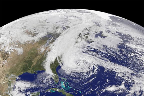 GOES-13 Image of Super Storm Sandy on 28 October 2012. Image courtesy of NASA