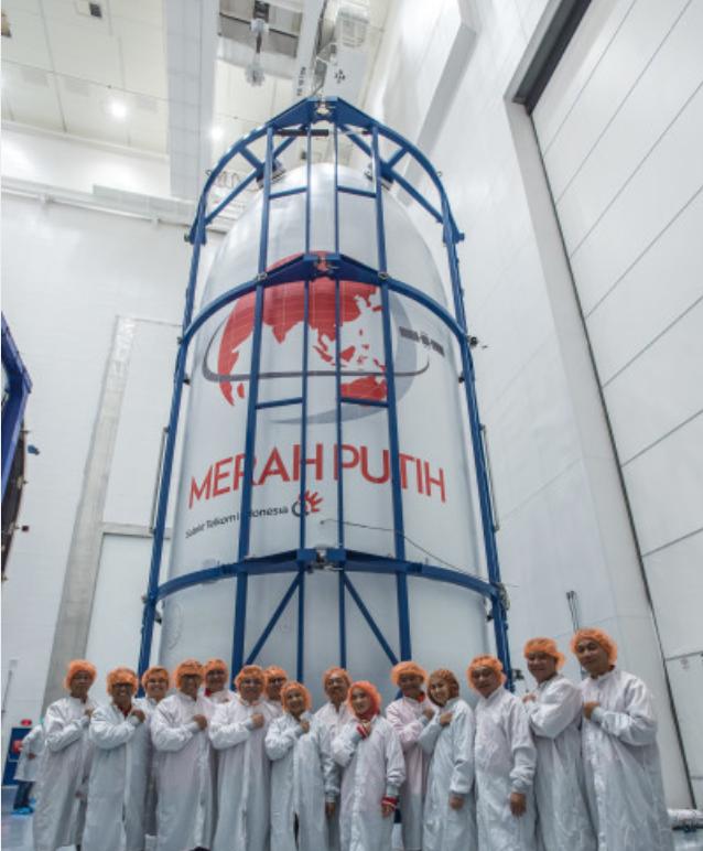 Satelit Merah Putih milik Telkom Indonesia sebelum diluncurkan ke ruang angkasa.